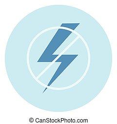 No hay icono de señales de electricidad en el fondo azul
