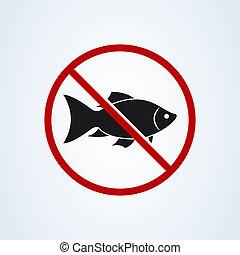 No hay icono de señales de peces aislado en el fondo blanco. Ilustración de vectores