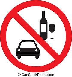No hay señal de vector de bebida y conducción aislada en el fondo blanco