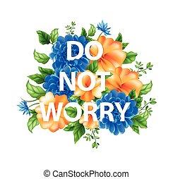 no, letras, flores, preocupación, ilustración