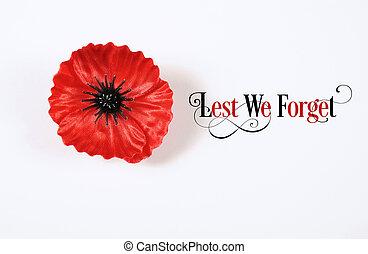 No olvidemos, insignias rojas de hojalata para el 11 de noviembre, la apelación del día del recuerdo. Sobre fondo blanco con Lest We Olvidemos el texto de muestra.