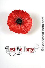 No olvidemos, insignias rojas de hojalata para el 11 de noviembre, la apelación del día del recuerdo. Sobre fondo blanco con Lest We Olvidemos el texto de muestra. Vertical.