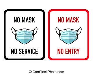 no, pegatinas, tienda, máscara