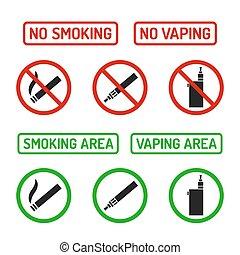 no, señales, conjunto, fumar