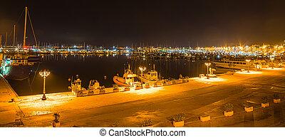 noche, alghero, puerto, claro