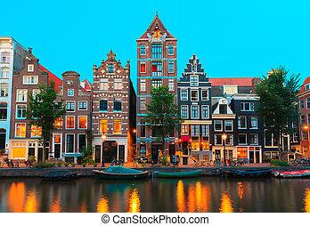 noche, canales, amsterdam, vista, ciudad