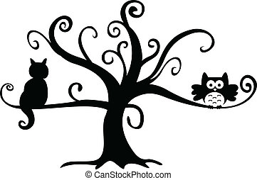 Noche de Brujas búho y gato en árbol