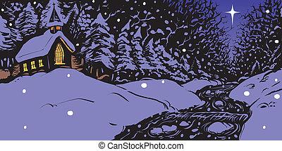 Noche de invierno nevada con la iglesia
