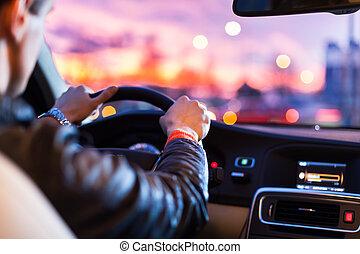 noche, el suyo, conducción, coche, moderno, -man