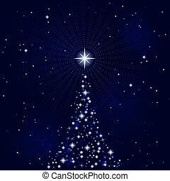 Noche estelar de paz con árbol de Navidad
