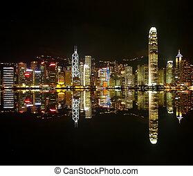 noche, hongkong, contornos