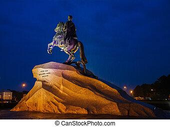noche, jinete, lluvia, saint-petersburg, rusia, bronce