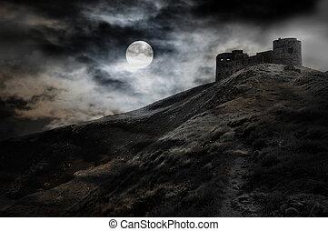 Noche, luna y oscura fortaleza
