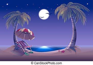 noche, mar, árbol, palma, luna, playa.