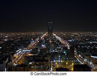 noche, riyadh, vista