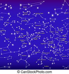 noche, señal, cielo, zodíaco, constelaciones
