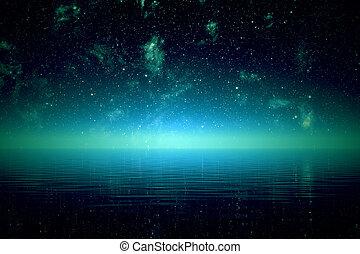 Noche sobre mar.