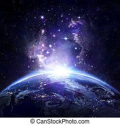 noche, tierra, espacio, nosotros, -, vista