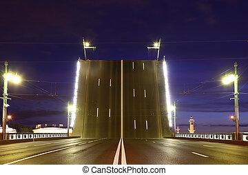 noche, vista, luego, puente levadizo, palacio, levantado, indicador, russia., puente, st.petersburg, vassilievski, island.