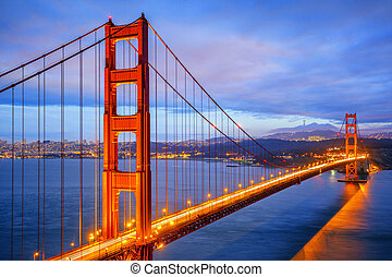 noche, vista, puerta, famoso, dorado, puente