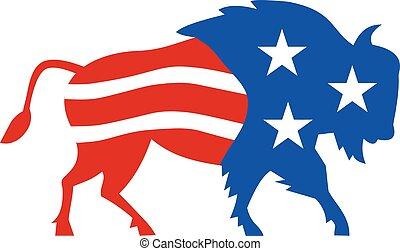 norte, estados unidos de américa, bandera estadounidense, bisonte, retro