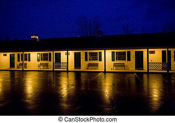 norte, estados unidos de américa, conway, motel, nuevo, hampshire;, noche