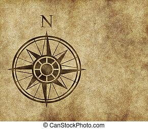 norte, mapa, flecha, compás