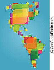 Norte, sur y centro de América el mapa del mundo continental hecho de coloridas burbujas de habla concepto de ilustración vector de fondo