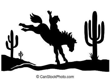 norteamericano, aislado, negro, blanco, conducción, vaquero, gráfico, caballo, cactuses., silueta, salvaje, silhouette., arizona, ilustración, desierto, oeste, vector