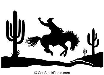 norteamericano, aislado, negro, conducción, vaquero, caballo, cactuses., silueta, salvaje, silhouette., arizona, ilustración, desierto, gráfico, vector