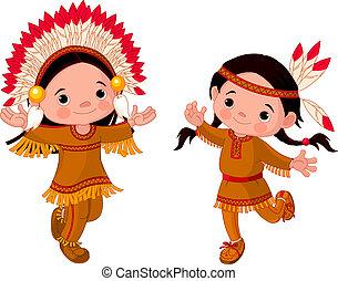 norteamericano, bailando, indios