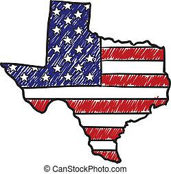 norteamericano, bosquejo, tejas