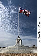 norteamericano, cementerio, bandera, nacional