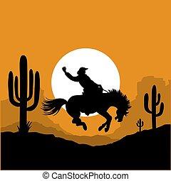 norteamericano, conducción, vaquero, caballo, cactus, silueta, salvaje, silhouette., arizona, sunrise., ilustración, desierto, gráfico, vector