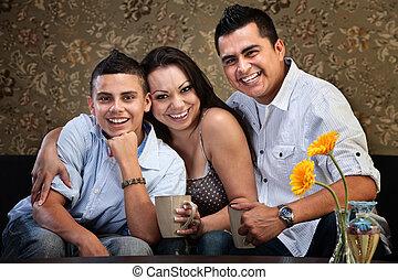 norteamericano, feliz, familia joven, nativo