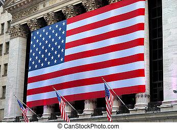 norteamericano, gigante, bandera
