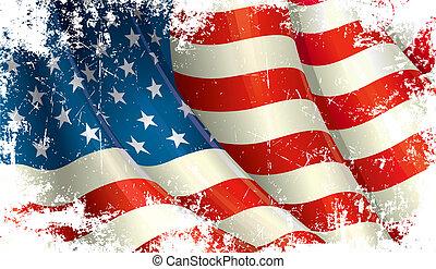 norteamericano, grunge, bandera