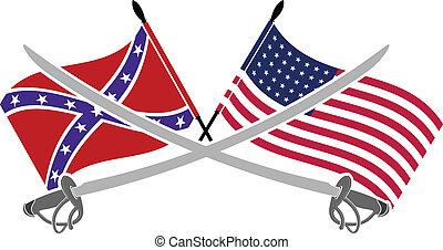norteamericano, guerra, civil