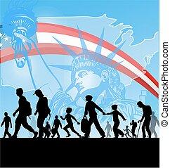 norteamericano, inmigración, gente