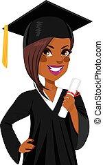 norteamericano, niña, graduación, africano