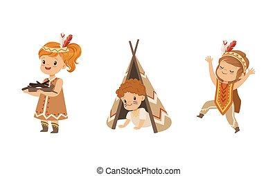 norteamericano, vector, llevando, étnico, ilustración, conjunto, juego, niños, caricatura, indios, niñas, tener diversión, trajes, niños, lindo, preescolar