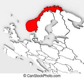 Noruega abstracto 3D mapa del continente europeo