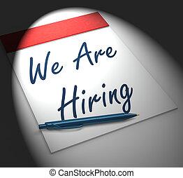 nosotros, arriendo, reclutamiento, persona, cuaderno, exhibiciones, empleo, o