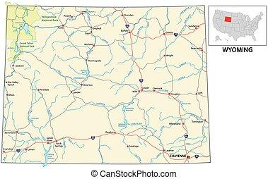 nosotros, estado, norteamericano, wyoming, mapa de camino