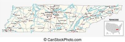 nosotros, mapa de camino, estado, norteamericano, tennessee