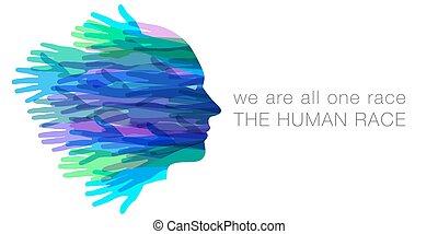 nosotros, todos, humano, uno, race.