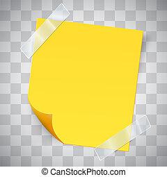 Nota amarilla pegajosa con la curva y cinta adhesiva.