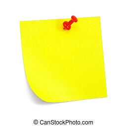 nota, amarillo, sombra, pegajoso