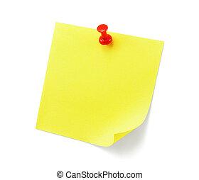 nota, blanco, sombra, amarillo, pegajoso