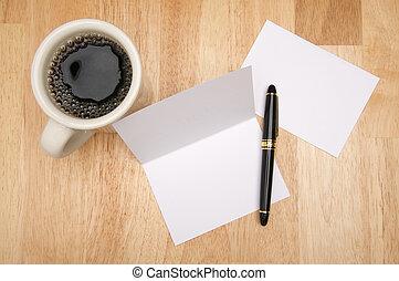 nota, café, tarjeta, y